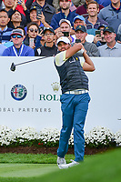 Jason Day (AUS) watches his tee shot on 4 during round 3 Four-Ball of the 2017 President's Cup, Liberty National Golf Club, Jersey City, New Jersey, USA. 9/30/2017.<br /> Picture: Golffile | Ken Murray<br /> <br /> All photo usage must carry mandatory copyright credit (&copy; Golffile | Ken Murray)