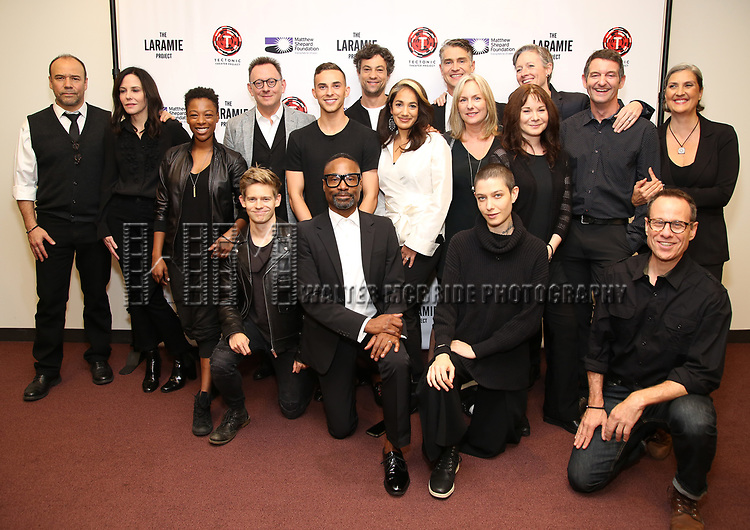 """Danny Burstein, Mary Louise Parker, Samira Wiley, Andrew Keenan-Bolger, Michael Emerson, Adam Rippon, Billy Porter, Andy Paris, Purva Bedi, Asia Kate Dillon and cast attends the cast photo call for """"Laramie: A Legacy""""  on September 24, 2018 at The Gerald W. Lynch Theater at John Jay College in New York City."""