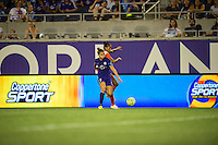 Orlando, FL - Thursday June 23, 2016: Stephanie Catley, Poliana Barbosa during a regular season National Women's Soccer League (NWSL) match between the Orlando Pride and the Houston Dash at Camping World Stadium.
