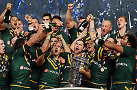 Picture by Vaughn Ridley/SWpix.com - 30/11/2013 - Rugby League - 2013 Rugby League World Cup Final - New Zealand v Australia - Old Trafford, Manchester, England - Australia's Cameron Smith celebrates victory with teammates. Rugby League World Cup 2013 re edited 11/10/2017 Best Of