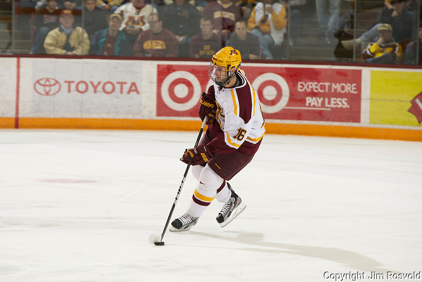 4 Nov 11: Nate Condon (Minneasota - 16). The University of Minnesota Golden Gophers host the University of North Dakota Fighting Sioux in a WCHA matchup at Mariucci Arena in Minneapolis, MN.