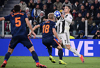 Cristiano Ronaldo (Juventus F.C.) and Daniel Wass (Valencia CF) compete for the ball during the Uefa Champions League 2018/2019 Group H football match between Juventus and Valencia at Juventus stadium, Torino, November 27, 2018 <br />  Foto Federico Tardito/ OnePlusNine / Insidefoto