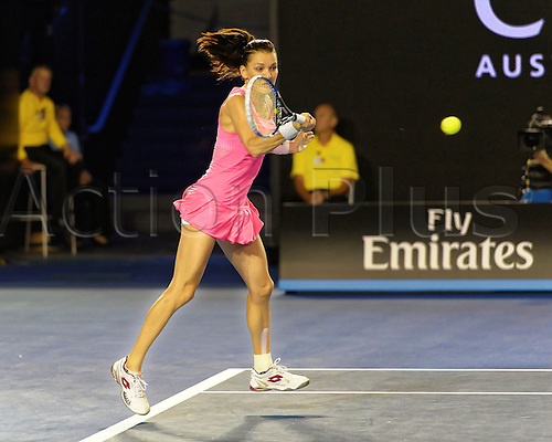 28.01.2016. Melbourne, Australia. Agnleszka Radwanska (POL) in action against Serena Williams (USA) during their women's singles match at the Australian Open Tennis Championship at Melbourne Park, Australia. Williams beat Radwansk 6:0, 6:4