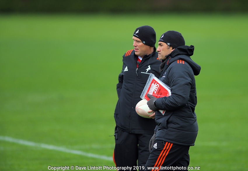 Coaches Mark Hooper and Gus Leger. New Zealand Schools Barbarians rugby union training at the Sport & Rugby Institute in Palmerston North, New Zealand on Wednesday, 25 September 2019. Photo: Dave Lintott / lintottphoto.co.nz