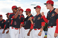 Batavia Muckdogs Jhonny Santos (13) greets teammates Shane Sawczak (21) and Hunter Wells (35) during introductions before a game against the Auburn Doubledays on June 19, 2017 at Dwyer Stadium in Batavia, New York.  Batavia defeated Auburn 8-2 in both teams opening game of the season.  (Mike Janes/Four Seam Images)