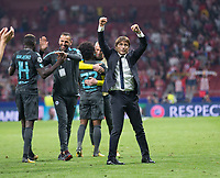 Antonio Conte of Chelsea celebrating during the UEFA Champions League group C match between Atletico Madrid and Chelsea played at the Wanda Metropolitano Stadium in Madrid, on September 27th 2017.