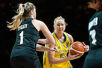 Melbourne, 15 August 2015 - Rachel JARRY of Australia drives to the basket in game one of the 2015 FIBA Oceania Championships in women's basketball between the Australian Opals and the New Zealand Tall Ferns at Rod Laver Arena in Melbourne, Australia. Aus def NZ 61-41. (Photo Sydney Low / sydlow.com)