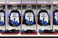 The jerseys of Matt Garvey, Francois Louw and Taulupe Faletau of Bath Rugby. The Clash, Aviva Premiership match, between Bath Rugby and Leicester Tigers on April 7, 2018 at Twickenham Stadium in London, England. Photo by: Patrick Khachfe / Onside Images