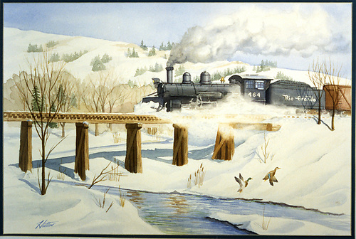 Photo of a Hutton watercolor showing the fireman side view of D&amp;RGW K-27 #464 crossing a trestle.<br /> RGS    Taken by Hutton, Jim (Artist)