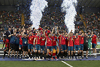 Spain's team celebrates with the trophy at the end of the Uefa Under 21 Championship 2019 football final match between Spain and Germany at Udine's Friuli stadium, Italy, June 30, 2019. Spain won 2-1.<br /> UPDATE IMAGES PRESS/Isabella Bonotto