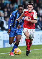Fleetwood Town's Lewis Coyle competing with Gillingham's Brandon Hanlan<br /> <br /> Photographer Andrew Kearns/CameraSport<br /> <br /> The EFL Sky Bet League One - Gillingham v Fleetwood Town - Saturday 3rd November 2018 - Priestfield Stadium - Gillingham<br /> <br /> World Copyright &copy; 2018 CameraSport. All rights reserved. 43 Linden Ave. Countesthorpe. Leicester. England. LE8 5PG - Tel: +44 (0) 116 277 4147 - admin@camerasport.com - www.camerasport.com