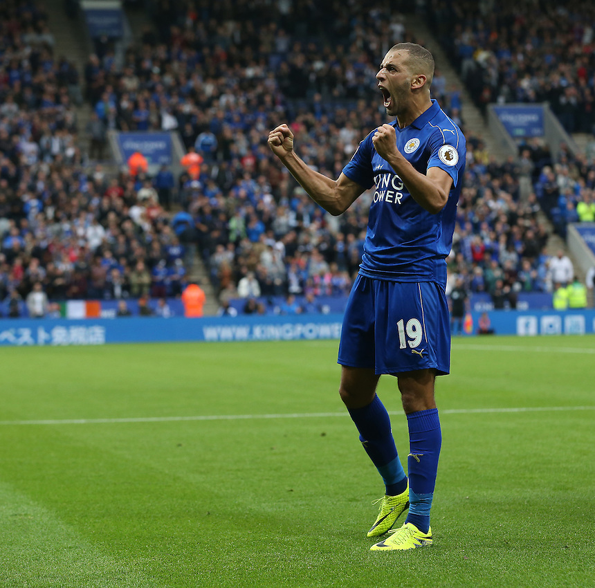 Leicester City's Islam Slimani celebrates scoring the opening goal <br /> <br /> Photographer Stephen White/CameraSport<br /> <br /> The Premier League - Leicester City v Burnley - Saturday 17th September 2016 - King Power Stadium - Leicester <br /> <br /> World Copyright &copy; 2016 CameraSport. All rights reserved. 43 Linden Ave. Countesthorpe. Leicester. England. LE8 5PG - Tel: +44 (0) 116 277 4147 - admin@camerasport.com - www.camerasport.com