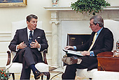 United States President Ronald Reagan is interviewed by Brian Widlake, a senior anchorman of the British Broadcasting Corporation (BBC) in the Oval Office of the White House in Washington, DC on October 30, 1985.<br /> Mandatory Credit: Bill Fitz-Patrick / White House via CNP