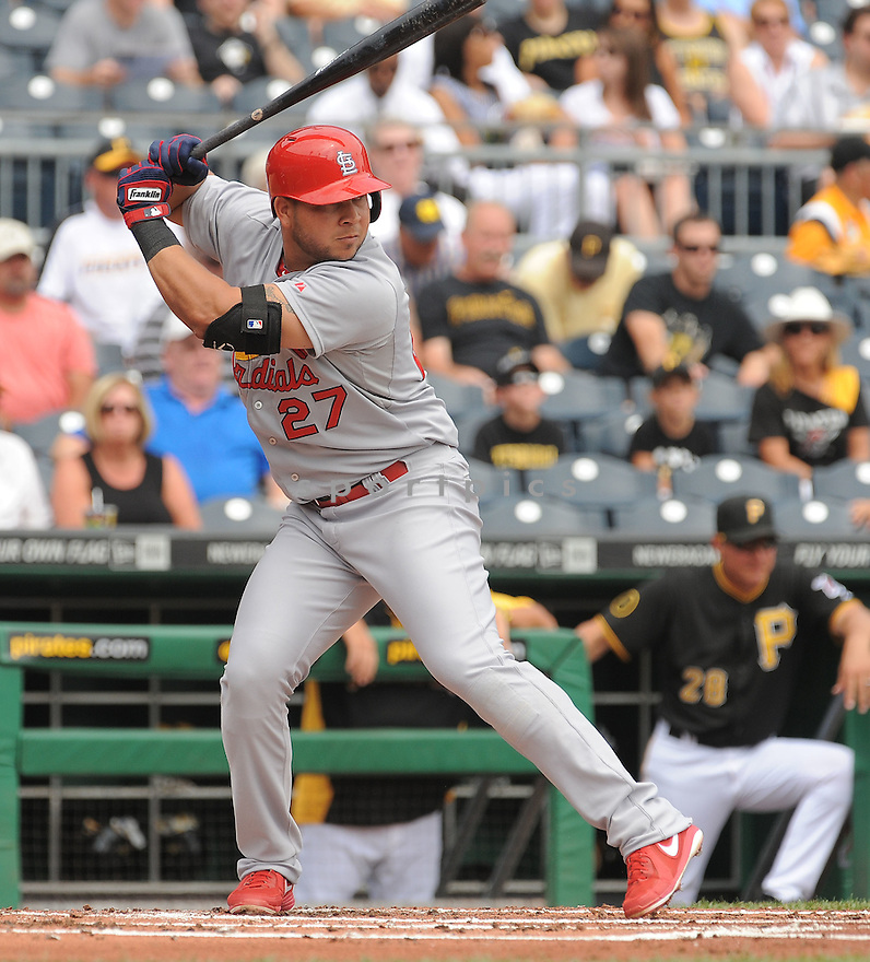 St. Louis Cardinals Jhonny Peralta (27) during a game against the Pittsburgh Pirates on August 27, 2014 at PNC Park in Pittsburgh PA. The Pirates beat the Cardinals 3-1.