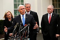 United States Vice President Mike Pence briefs reporters following a meeting with the president and congressional leaders on the government shutdown, at the White House, in Washington, D.C., 1-9-19. Behind Pence are, from left to right: US Secretary of Homeland Security (DHS) Kirstjen Nielsen, US House Minority Leader Kevin McCarthy (Republican of California), and US House Minority Whip Steve Scalise (Republican of Louisiana).<br /> Credit: Martin H. Simon / CNP /MediaPunch
