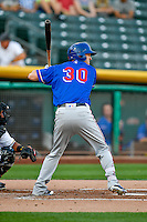 Jared Hoying (30) of the Round Rock Express at bat against the Salt Lake Bees in Pacific Coast League action at Smith's Ballpark on August 13, 2016 in Salt Lake City, Utah. Round Rock defeated Salt Lake 7-3.  (Stephen Smith/Four Seam Images)
