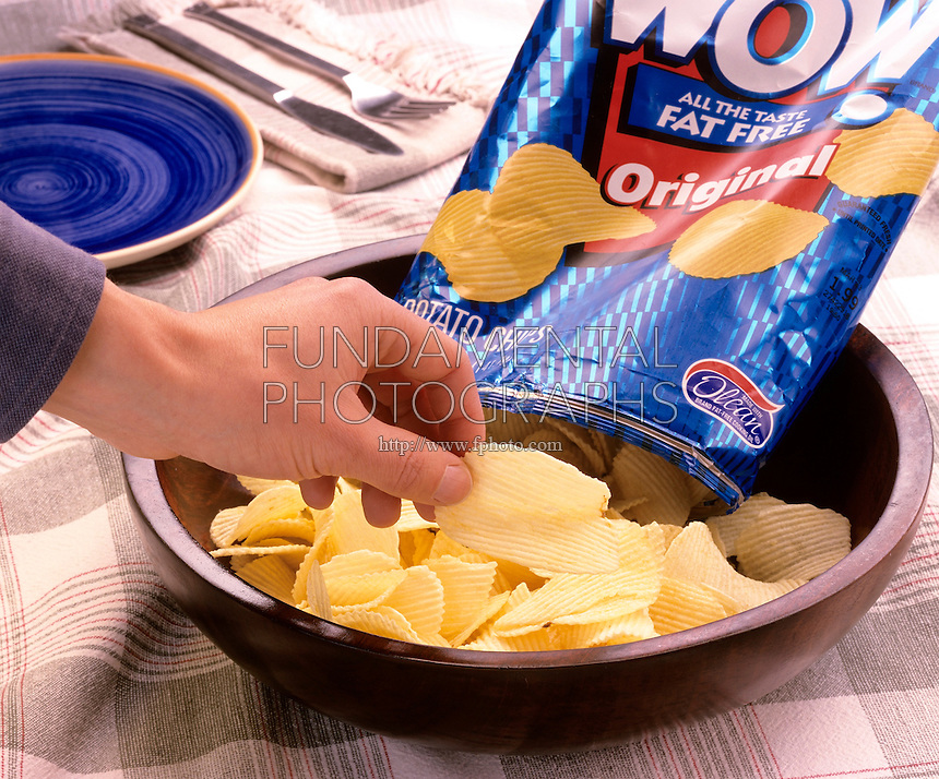 POTATO CHIPS MADE WITH OLESTRA (OLEAN®)<br />Olean® is a brand name for Olestra<br />Sucrose Polyester, SPE.  Non-absorbable lipid, substitute for fat in foods. Mixture of hexa-, hepta-, and octa-fatty acid esters of sucrose.