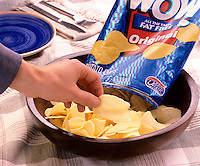 POTATO CHIPS MADE WITH OLESTRA (OLEAN&reg;)<br /> Olean&reg; is a brand name for Olestra<br /> Sucrose Polyester, SPE.  Non-absorbable lipid, substitute for fat in foods. Mixture of hexa-, hepta-, and octa-fatty acid esters of sucrose.