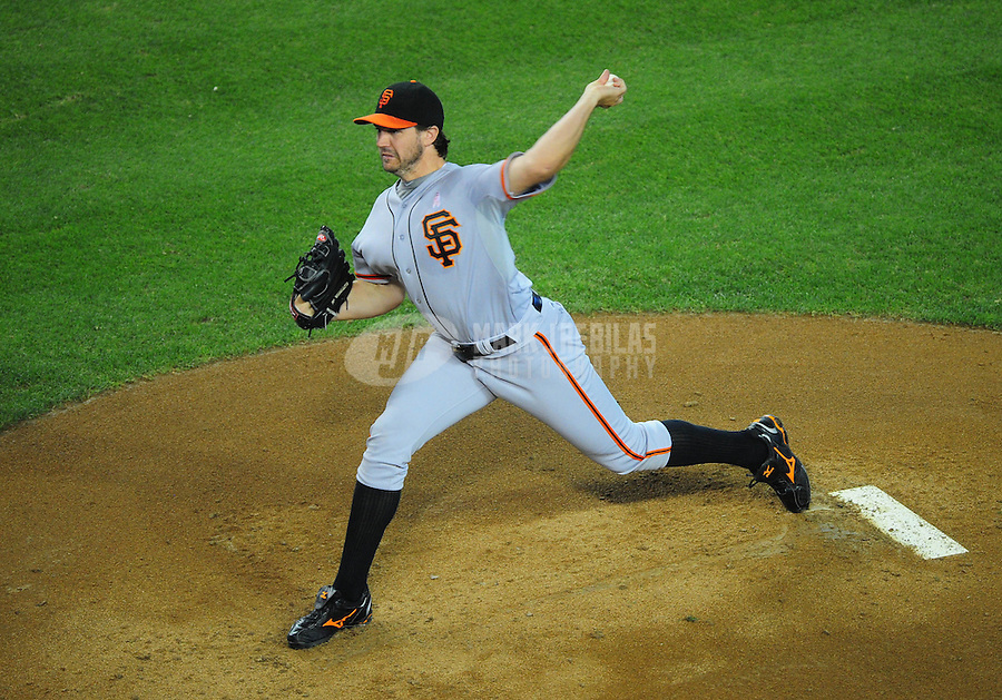May 13, 2012; Phoenix, AZ, USA; San Francisco Giants pitcher Barry Zito throws in the first inning against the Arizona Diamondbacks at Chase Field. Mandatory Credit: Mark J. Rebilas-