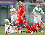 VfL Wolfsburg's Nilla Fischer (l) Vanessa Bernauer (r) and Olympique Lyonnais's Ada Hegerberg (c-r) and Camile Abily during UEFA Women's Champions League 2015/2016 Final match.May 26,2016. (ALTERPHOTOS/Acero)