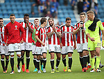 Sheffield United's Stefan Scougall celebrates with Kieron Freemand at the final whistle during the League One match at the Priestfield Stadium, Gillingham. Picture date: September 4th, 2016. Pic David Klein/Sportimage