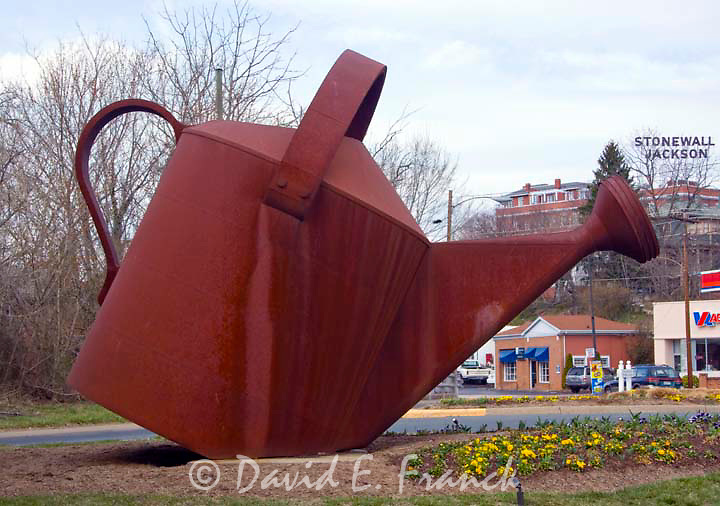 Giant Watering Can at an intersection in Staunton VA