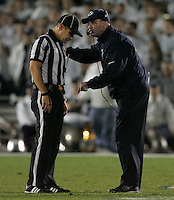 State College, PA - 10/12/2013:  Head coach Bill O'Brien argues a pass interference call during the second half.  Penn State defeated Michigan by a score of 43-40 in 4 overtimes on Saturday, October 12, 2013, at Beaver Stadium.<br /> <br /> Photos by Joe Rokita / JoeRokita.com