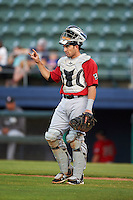 Birmingham Barons catcher Adrian Nieto (6) during a game against the Biloxi Shuckers on May 23, 2015 at Joe Davis Stadium in Huntsville, Alabama.  Birmingham defeated Biloxi 2-0 as the Shuckers are playing all games on the road, or neutral sites like their former home in Huntsville, until the teams new stadium is completed.  (Mike Janes/Four Seam Images)