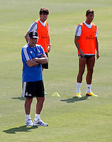 Coach, Carlo Ancelotti, in front of Kaka and Ronaldo during Real Madrid´s first training session of 2013-14 seson. July 15, 2013. (ALTERPHOTOS/Victor Blanco) ©NortePhoto