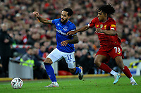 Everton's Theo Walcott shields the ball from Liverpool's Yasser Larouci<br /> <br /> Photographer Alex Dodd/CameraSport<br /> <br /> Emirates FA Cup Third Round - Liverpool v Everton - Sunday 5th January 2020 - Anfield - Liverpool<br />  <br /> World Copyright © 2020 CameraSport. All rights reserved. 43 Linden Ave. Countesthorpe. Leicester. England. LE8 5PG - Tel: +44 (0) 116 277 4147 - admin@camerasport.com - www.camerasport.com