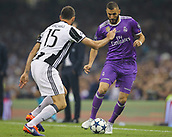 June 3rd 2017, National Stadium of Wales , Wales; UEFA Champions League Final, Juventus FC versus Real Madrid; Karim Benzema of Real Madridtakes on Andrea Barzagli of Juventus