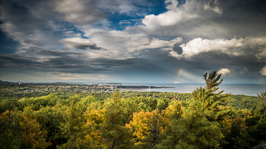 A rainbow over Lake Superior at Marquette, Michigan.