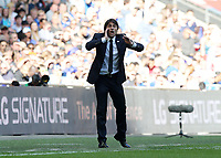19th May 2018, Wembley Stadium, London, England; FA Cup Final football, Chelsea versus Manchester United; Chelsea Manager Antonio Conte shouting instructions to his players from the touchline