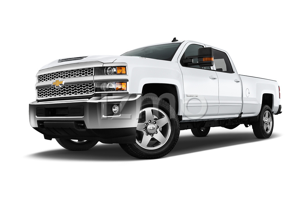 Stock pictures of low aggressive front three quarter view of a 2019 Chevrolet Silverado 2500 LT Crew Cab 4 Door Pick Up