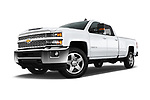 Stock pictures of low aggressive front three quarter view of a 2018 Chevrolet Silverado 2500 LT Crew Cab 4 Door Pick Up