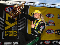 Feb 28, 2016; Chandler, AZ, USA; NHRA top fuel driver Leah Pritchett celebrates after winning the Carquest Nationals at Wild Horse Pass Motorsports Park. Mandatory Credit: Mark J. Rebilas-