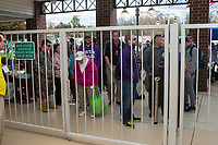 Fans wait for the gates to open at Kannapolis Intimidators Stadium for the Opening Day game between the Lakewood BlueClaws and the Kannapolis Intimidators on April 6, 2017 in Kannapolis, North Carolina.  The BlueClaws defeated the Intimidators 7-5.  (Brian Westerholt/Four Seam Images)