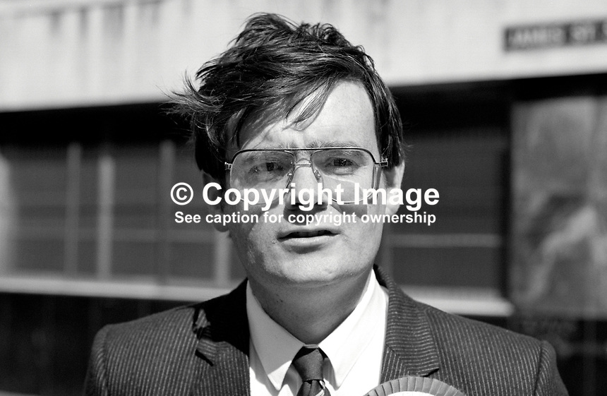 George Seawright, Independent Unionist, candidate, UK General Election, June 1987, 19870603GS2..Copyright Image from Victor Patterson, 54 Dorchester Park, Belfast, UK, BT9 6RJ..Tel: +44 28 9066 1296.Mob: +44 7802 353836.Voicemail +44 20 8816 7153.Skype: victorpattersonbelfast.Email: victorpatterson@me.com.Email: victorpatterson@ireland.com (back-up)..IMPORTANT: If you wish to use this image or any other of my images please go to www.victorpatterson.com and click on the Terms & Conditions. Then contact me by email or phone with the reference number(s) of the image(s) concerned.