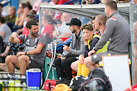 Lincoln City manager Danny Cowley, left, speaks to Lincoln City's Tom Pett<br /> <br /> Photographer Chris Vaughan/CameraSport<br /> <br /> Football Pre-Season Friendly (Community Festival of Lincolnshire) - Gainsborough Trinity v Lincoln City - Saturday 6th July 2019 - The Martin & Co Arena - Gainsborough<br /> <br /> World Copyright © 2018 CameraSport. All rights reserved. 43 Linden Ave. Countesthorpe. Leicester. England. LE8 5PG - Tel: +44 (0) 116 277 4147 - admin@camerasport.com - www.camerasport.com