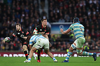 England's Henry Slade is tackled by Argentina's Nahuel Tetaz Chaparro<br /> <br /> Photographer Rachel Holborn/CameraSport<br /> <br /> International Rugby Union Friendly - Old Mutual Wealth Series Autumn Internationals 2017 - England v Argentina - Saturday 11th November 2017 - Twickenham Stadium - London<br /> <br /> World Copyright &copy; 2017 CameraSport. All rights reserved. 43 Linden Ave. Countesthorpe. Leicester. England. LE8 5PG - Tel: +44 (0) 116 277 4147 - admin@camerasport.com - www.camerasport.com