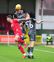 Lincoln City's Harry Toffolo vies for possession with Swindon Town's Marc Richards<br /> <br /> Photographer Andrew Vaughan/CameraSport<br /> <br /> The EFL Sky Bet League Two - Swindon Town v Lincoln City - Saturday 12th January 2019 - County Ground - Swindon<br /> <br /> World Copyright &copy; 2019 CameraSport. All rights reserved. 43 Linden Ave. Countesthorpe. Leicester. England. LE8 5PG - Tel: +44 (0) 116 277 4147 - admin@camerasport.com - www.camerasport.com