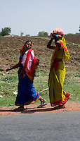 A slice of rural life in a village in India: Women going to work in a field