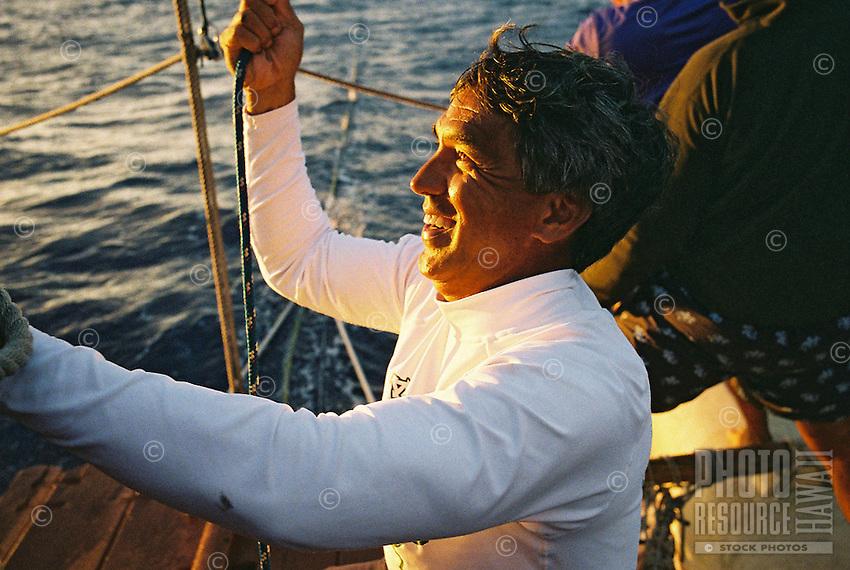 Nainoa Thompson: Kapu Na Keiki - Hokule'a sail to Niihau; July 24, 2006 - evening of departure from Hanalei, Kauai.
