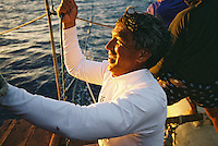 Nainoa Thompson: Kapu Na Keiki - Hokule'a sail to Niihau; July 24, 2006 - evening of departure from Hanalei, Kauai.
