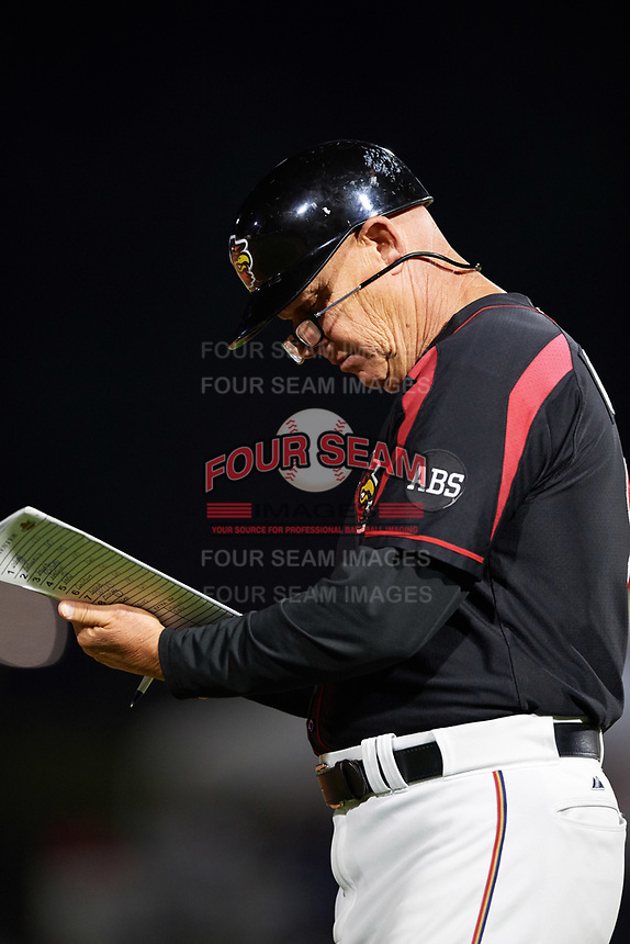 Rochester Red Wings manager Mike Quade (8) during a game against the Buffalo Bisons on August 25, 2017 at Frontier Field in Rochester, New York.  Buffalo defeated Rochester 2-1 in eleven innings.  (Mike Janes/Four Seam Images)