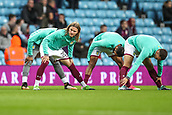 12th September 2017, Villa Park, Birmingham, England; EFL Championship football, Aston Villa versus Middlesbrough; Birkir Bjarnason of Aston Villa stretching before the game