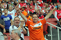 Pictured: Swansea supporters. Saturday 10 September 2011<br /> Re: Premiership Arsenal v Swansea City FC at the Emirates Stadium, London.