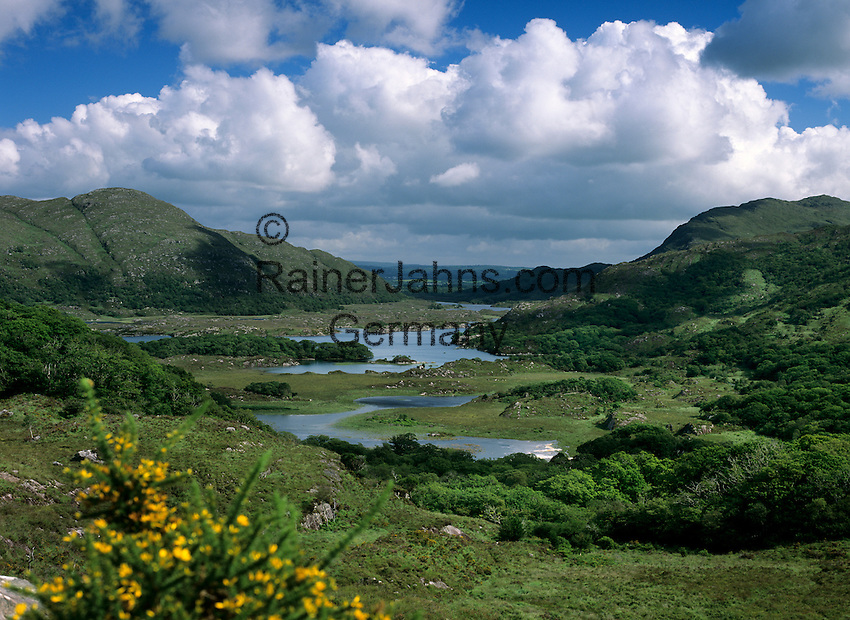 Ireland, County Kerry, near Killarney, Killarney National Park: Ladies' View, looking down to the Upper Lake | Irland, County Kerry, bei Killarney, Killarney National Park: Ladies' View mit Blick ueber den Upper Lake