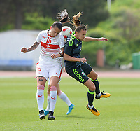 20180305 - LARNACA , CYPRUS : Swiss Francesca Calo (left) pictured in a duel with Welsh Kayleigh Green (r) during a women's soccer game between Switzerland and Wales , on monday 5 March 2018 at GSZ Stadium in Larnaca , Cyprus . This is the third game in group A for Switzerland and Wales during the Cyprus Womens Cup , a prestigious women soccer tournament as a preparation on the World Cup 2019 qualification duels. PHOTO SPORTPIX.BE   DAVID CATRY