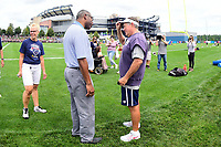 July 28, 2017: New England Patriots head coach Bill Belichick (right) speaks to Raymond Clayborn at the New England Patriots training camp held at Gillette Stadium, in Foxborough, Massachusetts. Eric Canha/CSM